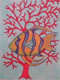 click here to view larger image of Blue and Yellow Fish in Coral (hand painted canvases)