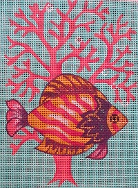 click here to view larger image of Purple & Yellow Fish in Coral (hand painted canvases)