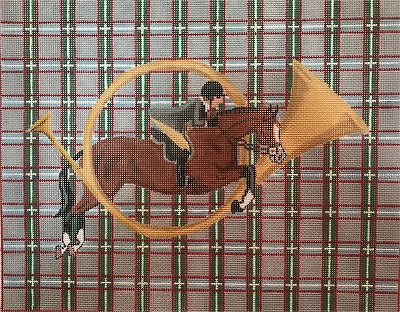 click here to view larger image of Show Hunter Jumping Thru Horn (hand painted canvases)