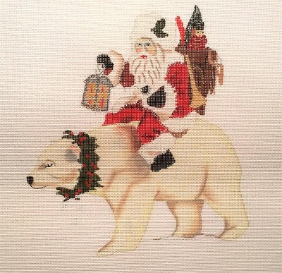 click here to view larger image of Santa on Polar Bear (hand painted canvases)