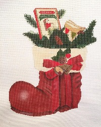 click here to view larger image of Santa's Boot (hand painted canvases)