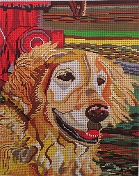 click here to view larger image of Retriever with Hydrant (hand painted canvases)