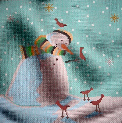 click here to view larger image of Snowman with Cardinals (hand painted canvases)