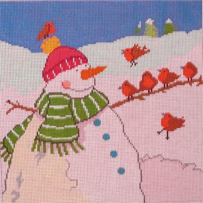 click here to view larger image of Snowman & Friends (hand painted canvases)