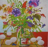 click here to view larger image of Bouquet with Eggs (hand painted canvases)