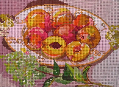 click here to view larger image of China with Hydrangea & Peaches (hand painted canvases)