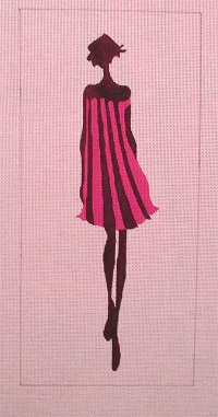 click here to view larger image of Fashion Girl in Pink & Black Stripes (hand painted canvases)
