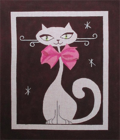 click here to view larger image of Pink Bow Tie Kitty (hand painted canvases)