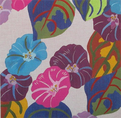 click here to view larger image of Morning Glories (hand painted canvases)