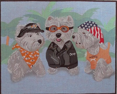 "click here to view larger image of Westie ""Ruff Riders"" (hand painted canvases)"