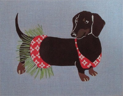 click here to view larger image of Daschund does the Hula (hand painted canvases)