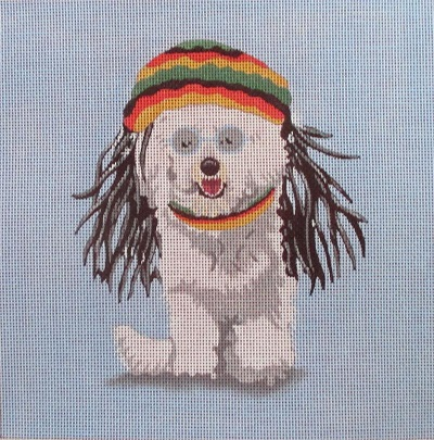 click here to view larger image of No Worries - Bichon (hand painted canvases)