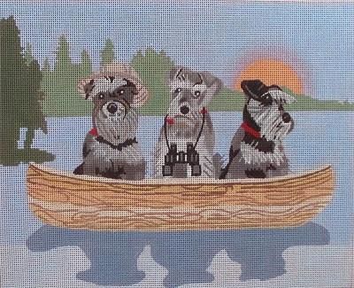 click here to view larger image of Schnauzer Lake Dogs (hand painted canvases)
