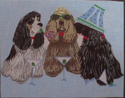 click here to view larger image of Party Animals Spaniels (hand painted canvases)