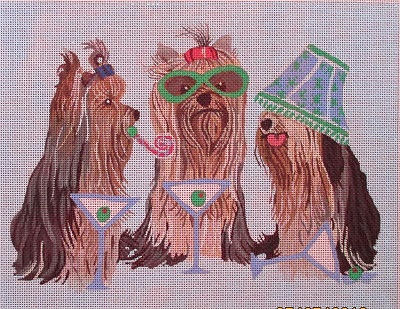 click here to view larger image of Yorkies Partying (hand painted canvases)