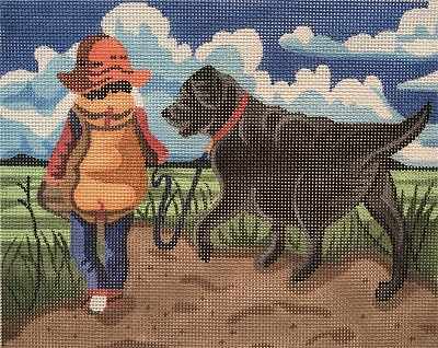 click here to view larger image of Boy in Field w/ Black Lab (hand painted canvases)
