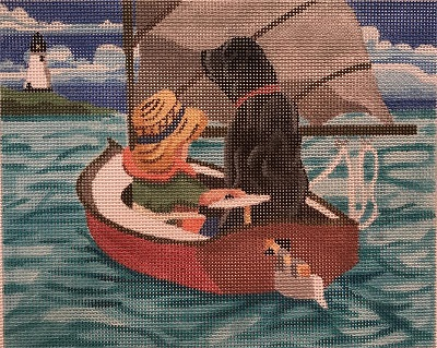 click here to view larger image of Boy and Lab sailing to the Lighthouse (hand painted canvases)
