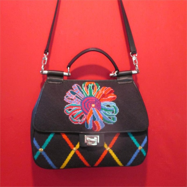 click here to view larger image of Ribbon Saddle Bag (hand painted canvases)