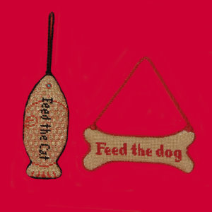 click here to view larger image of The Dog is Fed/Feed the Dog (hand painted canvases)