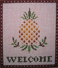 click here to view larger image of Welcome / Pineapple (hand painted canvases)
