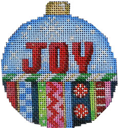 click here to view larger image of Joy / Stripes Ball Ornament Large (hand painted canvases)