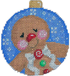 click here to view larger image of Gingerbread Boy / Dots Ball Ornament (hand painted canvases)