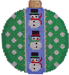 click here to view larger image of Snowman / Dots Ball Ornaments (hand painted canvases)