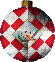 click here to view larger image of Snowman Harlequin Ball Ornament (hand painted canvases)
