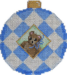 click here to view larger image of Blue Bear / Harlequin Ball Ornament (hand painted canvases)