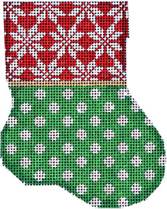 click here to view larger image of Snowflake Cuff / Dot Mini Stocking (hand painted canvases)