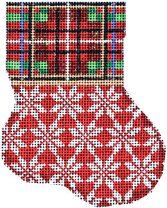 click here to view larger image of Plaid Cuff / Snowflake Mini Stocking (hand painted canvases)