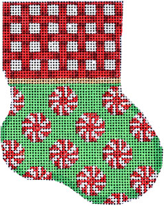 click here to view larger image of Red Woven Cuff / Peppermint Mini Stocking (hand painted canvases)