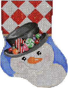 click here to view larger image of Top Hat Snowman Mini Stocking (hand painted canvases)