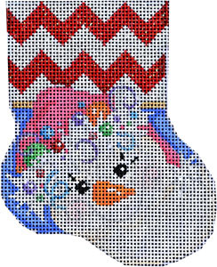 click here to view larger image of Pink Hat Snowman Mini Stocking (hand painted canvases)
