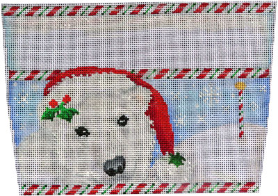 click here to view larger image of Polar Bear Stocking Cuff (hand painted canvases)