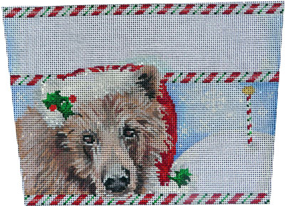 click here to view larger image of Brown Bear Stocking Cuff (hand painted canvases)