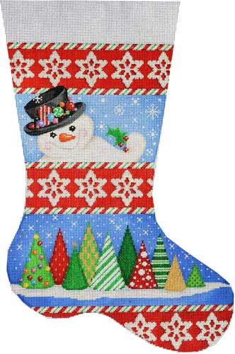 click here to view larger image of Snowman / Trees Stocking (hand painted canvases)