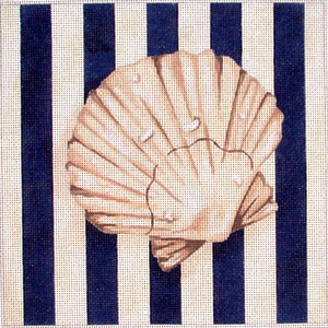 click here to view larger image of Scallop Shell Square / Stripes (hand painted canvases)