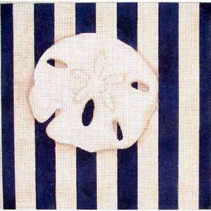 click here to view larger image of Sand Dollar Square / Stripe (hand painted canvases)