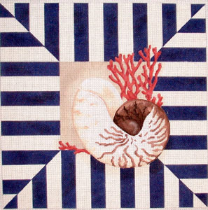 click here to view larger image of Shell / Coral Stripes (hand painted canvases)