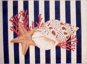 click here to view larger image of Shell / Starfish Stripes (hand painted canvases)