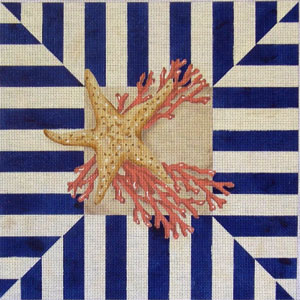 click here to view larger image of Starfish / Coral Square (hand painted canvases)