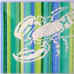 click here to view larger image of Lobster Silhouette on Stripes (hand painted canvases)