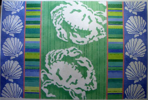 click here to view larger image of Crab Silhouettes / Stripes / Shells (hand painted canvases)