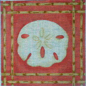 click here to view larger image of Sand Dollar Bamboo Border (hand painted canvases)