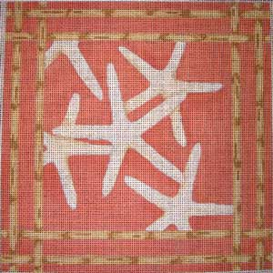 click here to view larger image of Sea Stars Bamboo Border (hand painted canvases)