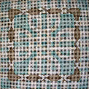 click here to view larger image of Claremont Cross / Borders Aqua (hand painted canvases)