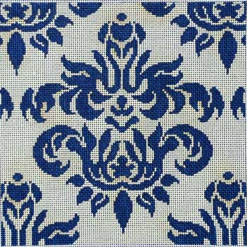 click here to view larger image of Cream / Navy Damask - Small (hand painted canvases)
