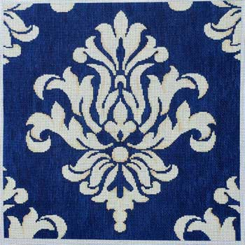 click here to view larger image of Navy / Cream Damask (hand painted canvases)