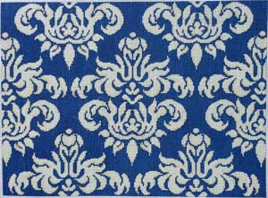 click here to view larger image of Navy / Cream Oblong Damask (hand painted canvases)